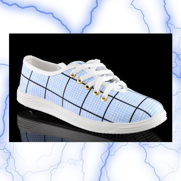 کفش چهارخانه فیروزه ای